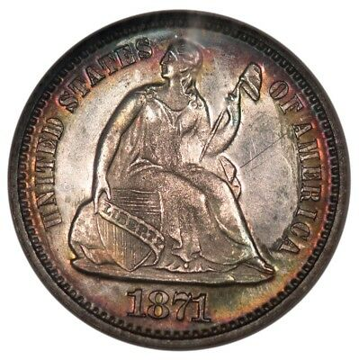 1871 Proof 64 half dime with toning