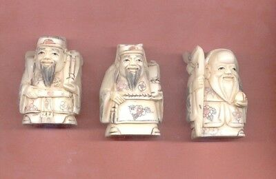 Three Fortune Gods Stunning Vintage Hand Carved 1.5 In Netsuke Set Of 3   422