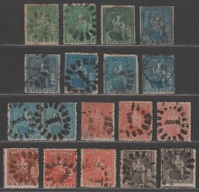 Barbados 1861-70 QV unwatermarked Britannia Selection to 1sh Used