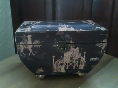 Vintage Style Wooden Chest, Chinese/Japonese Pattern With Metal Clasp and hinges