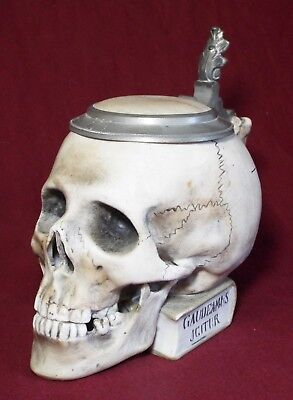 Antique 1/2L ERNST BOHNE SOHNE #9136 SKULL ON BOOK Porcelain GERMAN BEER STEIN