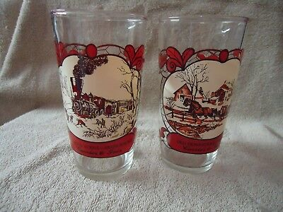1979 Kraft vtg. Currier and Ives 2 winter scene glasses