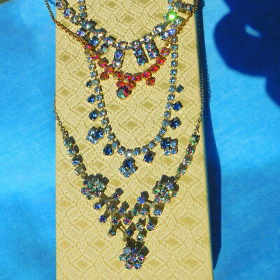 Beautiful antique vintage jewellery necklaces job lot  of 4 Rainbow Iris etc.