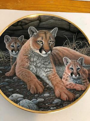 Franklin Mint Mountain Lioness And Cubs Collector Plate Artist Michael Matherly