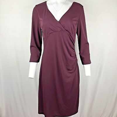 795ce5a9 NICOLE MILLER FOR Lord & Taylor maroon Sheath Dress Size L/Large 3/4 ...
