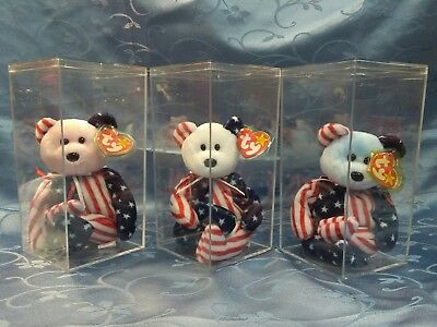 SPANGLE RED, WHITE & BLUE SET of 3 TY BEANIE BABIES Bears Patriotic