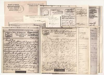WWII V-Mail Letters. Normandy, Germany, Italy. Infantry, Air Force, Armor, Navy.