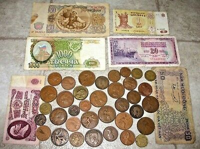 Lot Of Old World Copper Coins & Banknotes! Unique Collection! #3-C