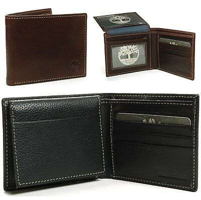 Timberland Men's Passcase Wallet Pebble Grain Leather Flip ID Card Window Bifold