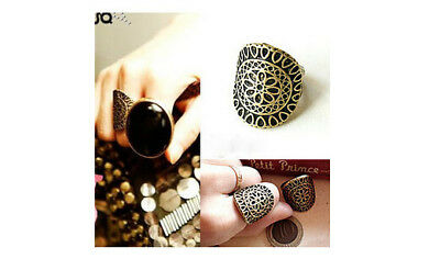 Charm Cool Vintage Bronze Flower Statement Ring Women Fashion Jewelry size 7
