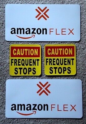 2 AMAZON FLEX  6X12 & 2 FREQUENT STOPS 5X5 100% Magnetic CAR VEHICLE SIGNS y
