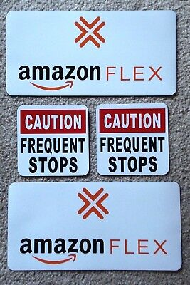 2 AMAZON FLEX  6X12 & 2 FREQUENT STOPS 5X5 100% Magnetic CAR VEHICLE SIGNS w