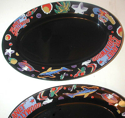 SET OF 2 Planet Hollywood Black Oval Serving Platter Dish Plate Heavyweight EC