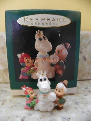 Hallmark 1995 Pebbles and Bamm Bamm The Flintstones Miniature Christmas Ornament