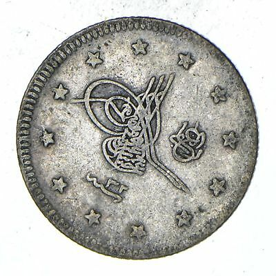 Roughly Size of a Dime - 1920s Turkey 2 Kurush - World Silver Coin *285