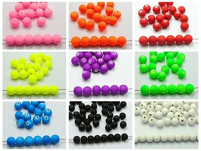 """200 Fluo Neon Beads Acrylic Round Beads 8mm(0.32"""") Rubber Tone Color Choice"""