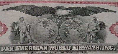 Pan American World Airways 100 Shares Capital Stock Certificate Red 1950's