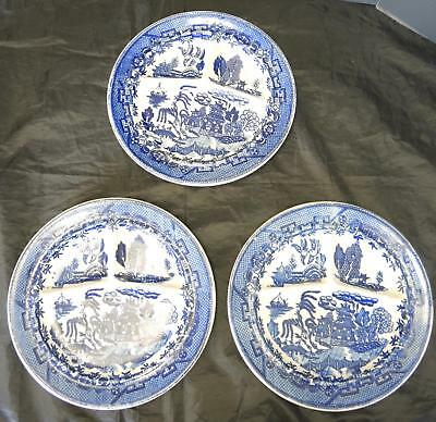 Three Antique Blue Willow Grill Plates for Restaurant Moriyama Japan