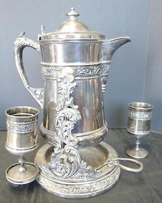 Victorian Meriden Silver Aesthetic Movement Tilting Water Pitcher With Two Cups