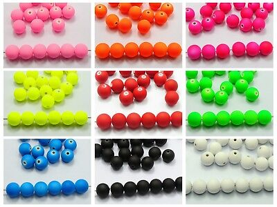 """100 Fluo Neon Beads Acrylic Round Beads 10mm(3/8"""") Rubber Tone Color Choice"""