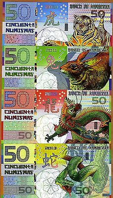 POLYMER SET, Kamberra  4 x 50; 2010-2011-2012-2013 > Tiger Rabbit Dragon Snake