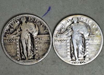 1930 and 19XX  Standing Liberty Quarter Dollar Lot of 2 Silver Coins