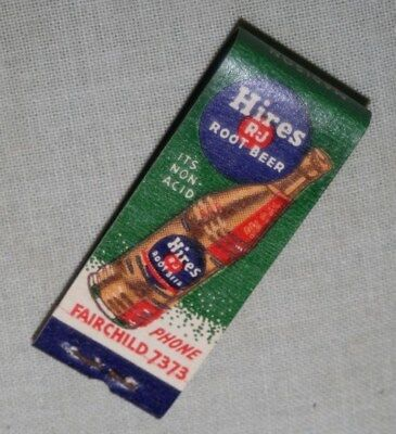 1930s / 40s HIRES ROOT BEER Clicquot Club UNSTRUCK 10 Strike MATCH BOOK matches