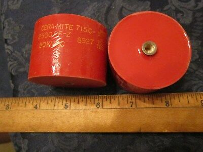 30kV 2500pF High Voltage  Doorknob Capacitor  NOS  CERA-MITE    #173