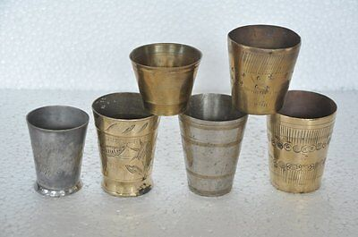 6 Pc Old Brass Small Handcrafted Engraved Milk / Lassi Glass,Collectible