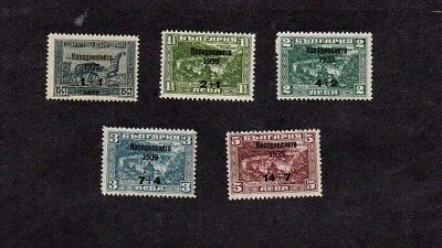 Bulgaria.1939.flood Relief Fund Surcharge Set.lightly Hinged Mint.sg 429-33