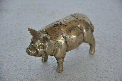 Old Brass Handcrafted Unique Fine Quality Pig Figurine , Rich Patina