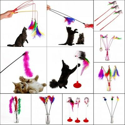 3x Funny Cat Kitten Teaser Colorful Feather Wire Toys Pet Toy Wand Amusement Toy