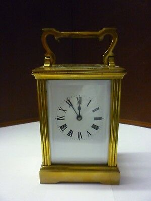 Vintage Brass 8 Day Carriage Clock With Fancy Pillars In Good Working Order (8)