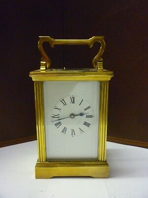 Vintage Brass 8 Day Carriage Clock With Fancy Pillars In Good Working Order (9)