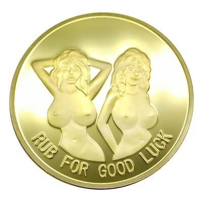 Golden Alloy Plated Sexy Woman Lucky Bitcoin Commemorative Coin Souvenir Gifts
