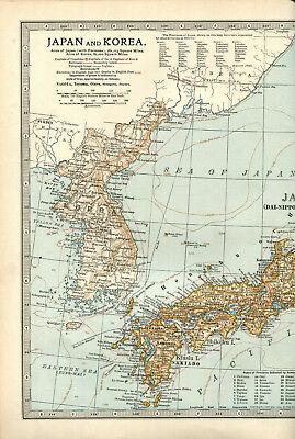 Colour map culled from a 1903 atlas JAPAN & KOREA