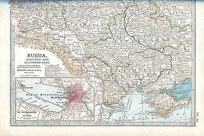 Colour map culled from a 1903 atlas RUSSIA Western and Southern part