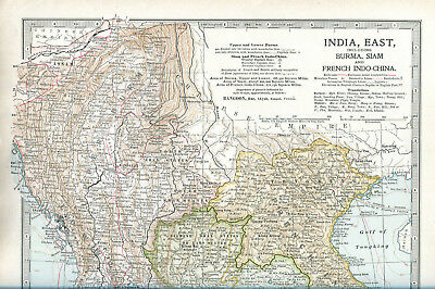 Colour map culled from a 1903 atlas INDIA East Burma Siam and French Indo-China