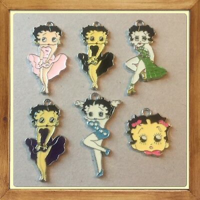💄 Lot Of 6 Vintage Betty Boop  Metal Charms,Brand New #19 ❤️
