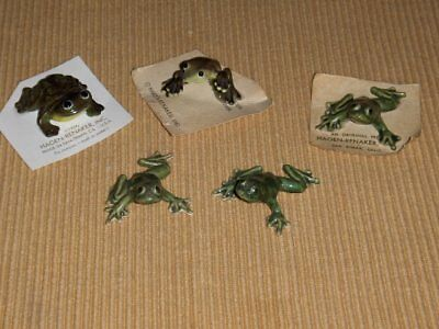 (5)Vintage Hagen Renaker Frog Figurines (3 On Original Cards)
