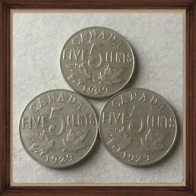 Lot Of 3 1929 King George V Canada five cents Canadian nickels  Coins #1294