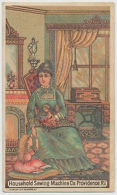 Household Sewing Machine Co., Providence, Rhode Island - Victorian Trade Card