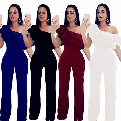 f2d3a85976b Fashion Women Short Sleeve Ruffle Sloping Shoulder Bodycon Party Slim  Jumpsuit