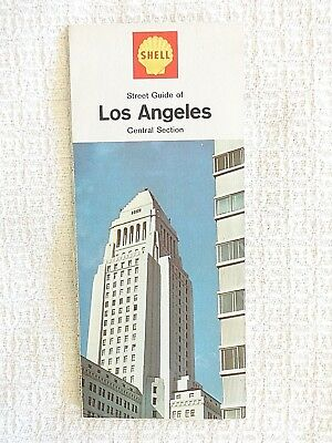 1966 Shell Gas Station Street Guide Map of Central Los Angeles