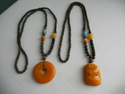 Vintage Asian Chinese Carved Amber Wood Beaded Necklaces Foo Dog Circle Lot Of 2