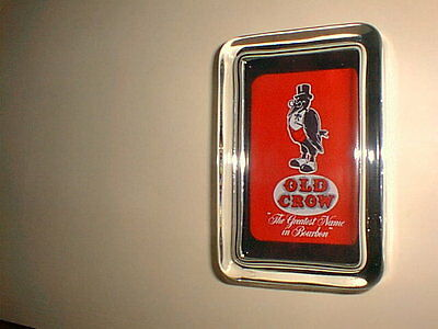 Old Crow Whiskey Liquor Bourbon Red Advertising Sign Logo Glass Paperweight