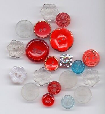 20 glass vintage buttons - all sew-through
