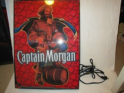 "Captain Morgan Rum Bar Light Up Sign Works Great Mancave 18"" X 13"" Beer"