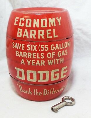 Vintage 1950s DODGE Detroit, MI Car Advertising Tin ECONOMY BARREL BANK w/ Key