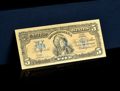 """MAKE OFFER<TOUCHABLE COLORIZED>1899 """"GOLD"""" SILVER CERTIFICATE INDIAN CHEIF Rep.*"""
